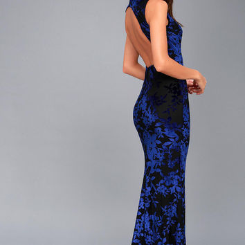 Dariana Black and Blue Velvet Floral Print Backless Maxi Dress