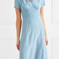 HVN - Morgan gingham silk crepe de chine midi dress