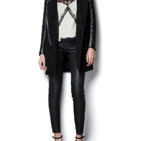 Trench Coat with Contrast Leather-look Sleeve