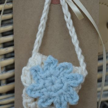 Hand Crocheted Tooth Fairy Bag with Blue Flower Motif