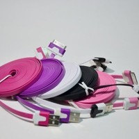 5pcs/lot 5 Colors Colorful 3M 10 FT Long Flat USB Data Sync Charging Cable Cord for iPhone 4 4S iPod:Amazon:Cell Phones & Accessories