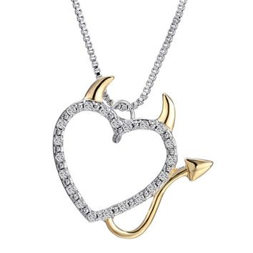 2017 Gold and Silver Plated Love Heart Horns Devil Heart Pendant Necklaces Jewelry for Women Rhinestone Necklace