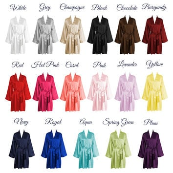 Solid Color Kimono Silk Bridesmaid Robes