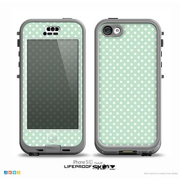 The Light Green with White Polkadots Skin for the iPhone 5c nüüd LifeProof Case