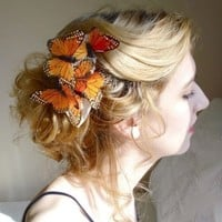 butterfly hair comb wedding - I'll FLY AWAY - flowers, orange monarch