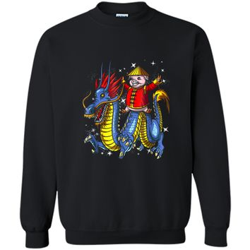 Chinese New Year 2019 Pig Riding Dragon Gift Printed Crewneck Pullover Sweatshirt