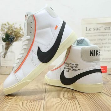 hcxx N480 Nike Zoom Blazer Mid Off White Leather Fashion Casual Skate Shoes
