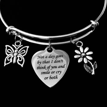 Not a Day Goes By Memorial Jewelry Adjustable Bracelet Silver Expandable Wire Bangle Bereavement Gift One Size Fits All