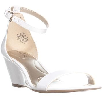 Bandolino Omira Wedge Ankle Strap Sandals, White, 6.5 US