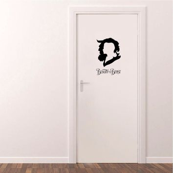 BEAUTY AND THE BEAST Vinyl  Door Sticker Creative  Waterproof Wall Stickers Home Decor Living Room A2325