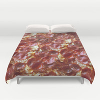 Pepperoni Pizza Duvet Cover by RexLambo