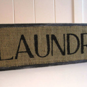 Laundry Room Wood Sign Plaque Burlap Black Distressed Shabby Sheik