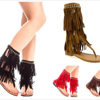 Brand New Women's Fashion Mid Calf T-Strap Fringe Thong Flat Sandals Shoes