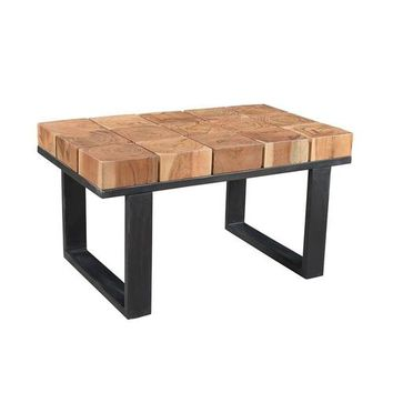 Solid Acacia Wood Coffee Table with Iron Legs |
