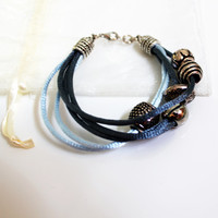Bracelet - Modern braided cord and metalic beads bracelet, Unique grey and light blue bracelet, Simple bracelet, Romantic everyday bracelet