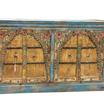 Antique Vintage Sideboard Buffet Media Cabinet Beautiful Floral Carved Indian Furniture Blue Damachiya Media Console
