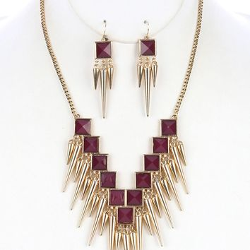 Purple Metal Spike Fringe Lucite Stone Bib Necklace And Earring Set