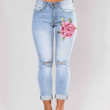 Plus Size 2017 Womens Skinny Slim Trousers Corner Embroidered Small Feet Elastic Jeans Pantalon Femme Mujer 3XL