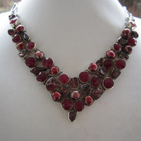 Natural Indian Ruby Sterling Silver Necklace