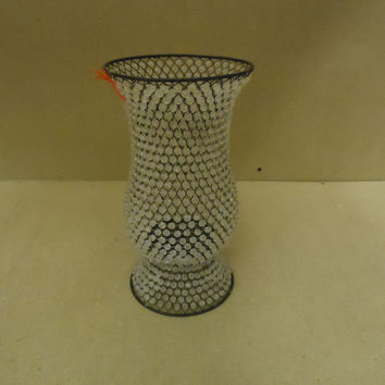 Designer Candle Holder 12in H x 6in Diameter Beaded Contemporary Metal Plastic -- Used