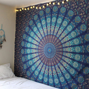 Indian Mandala Tapestry Hippie Peacock Printed Wall Hanging Bohemian Wall Hanging