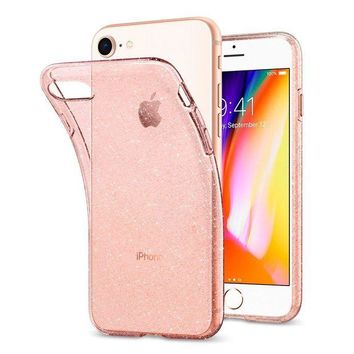 LMFON2D Spigen Liquid Crystal [2nd Generation] iPhone 8 Case / iPhone 7 Case with Slim Protection and Premium Clarity for Apple iPhone 8 (2017) / iPhone 7 (2016) - Glitter Rose Quartz