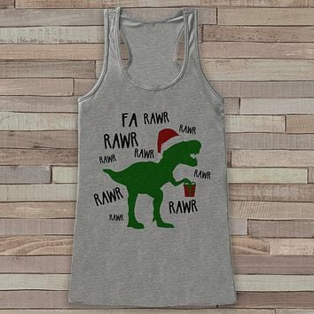 Dinosaur Christmas Tank - Funny Adult Christmas Shirt - Womens Grey Tank Top - Merry Christmas Tank - Holiday Gift Idea - Dino T Rex Shirt
