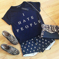 I Hate People Women's Black Slouchy Tshirt...Follow me for more:)