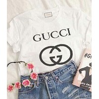 GUCCI 2018 summer print letters short-sleeved pattern