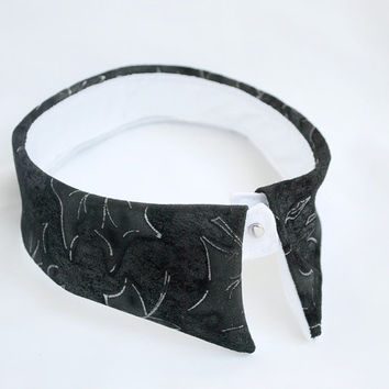 Suede Leather Collar Necklace - Detachable Black Suede Etched Womens Clothing