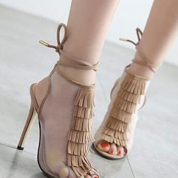 Apricot Tassel Detail Mesh Insert Ankle Lace Up Heeled Sandals