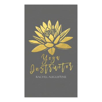 Elegant Gray and Gold Foil Lotus Yoga Instructor Business Card