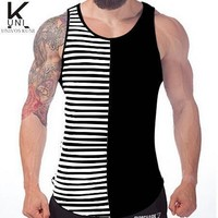 Men's striped Tank Tops  cotton Slim Fit Gym