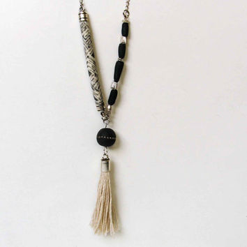 Black White Long Y Tassel Necklace, Boho Pendant Necklace, Tribal Beaded Necklace, Limited Edition Handmade Jewelry, Unique Boho Trend OOAK