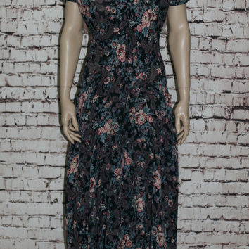 90s Maxi Dress S M Midi Floral Rayon black Pastel Floral Tank Maxi Grunge Hipster Boho Festival Pastel Goth Nu Oversize Tent