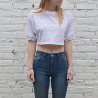 Striped Pastel Crop Tee - S