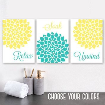 Flower BATHROOM Wall Art, CANVAS or Print, Yellow Turquoise Flower BATHROOM Decor, Relax Soak Unwind Quote Bathroom Wall Art Decor, Set of 3