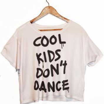 Cool Kids Don't Dance Print Tanks Punk Crop Top SexeMara Tee Women Tops Short Sleeve shirt  F989