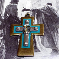 Cross Pendant w/ Crucifix Medal,Colored Picture, Easter Jewlery, Handmade Brass. Enamaled and Silver Catholic Cross, Religious Cross Pendant