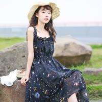 Summer Japanese Sexy Women Galaxy Star Maxi Dress Lolita Bandage Fairy Irregular Ruffle Chiffon Elegant Suspenders Long Dresses