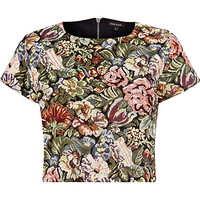 River Island Womens Green tapestry cropped t-shirt