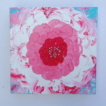Acrylic Pink Floral Impasto Painting By SamIamArt