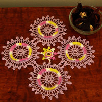 Lavender Pansy Doily - Handmade - Diamond or Square Crochet Lace Doily - Patchwork Crochet in Fine Threads - Colorful Art in Fibers