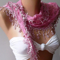 Pink /Elegant  Shawl/Scarf ...With Lacy Edge.