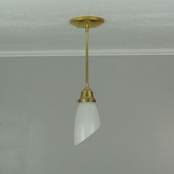 Petite Angle Glass & Brass Pendant Light