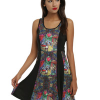 Disney Beauty And The Beast Stain Glass Panel Skater Dress