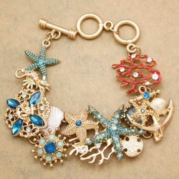 Nautical Sea Life Horse Star Fish Crystal Coral Anchor Toggle Bracelet Bangle Beach Jewelry Fancy Dress Costume