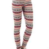 Aoki Fashion - Fair Isle Patterned Fleece Lined Leggings
