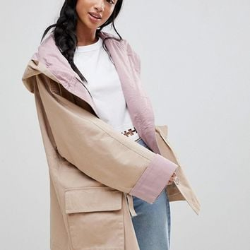 ASOS PETITE Waterfall Parka with Contrast Liner at asos.com
