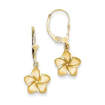 14k Yellow Gold Satin & Diamond-Cut Plumeria Dangle Leverback Earrings